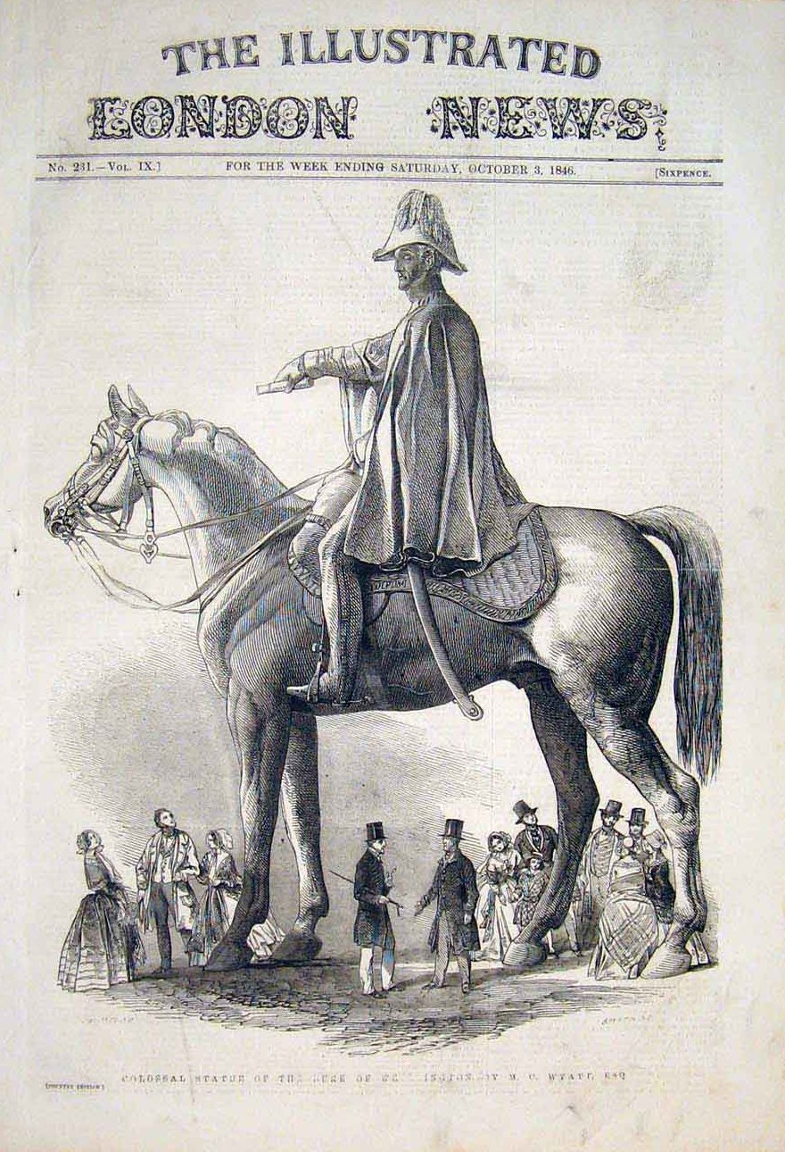 An illustration of the Wellington Statue in the Illustrated London News