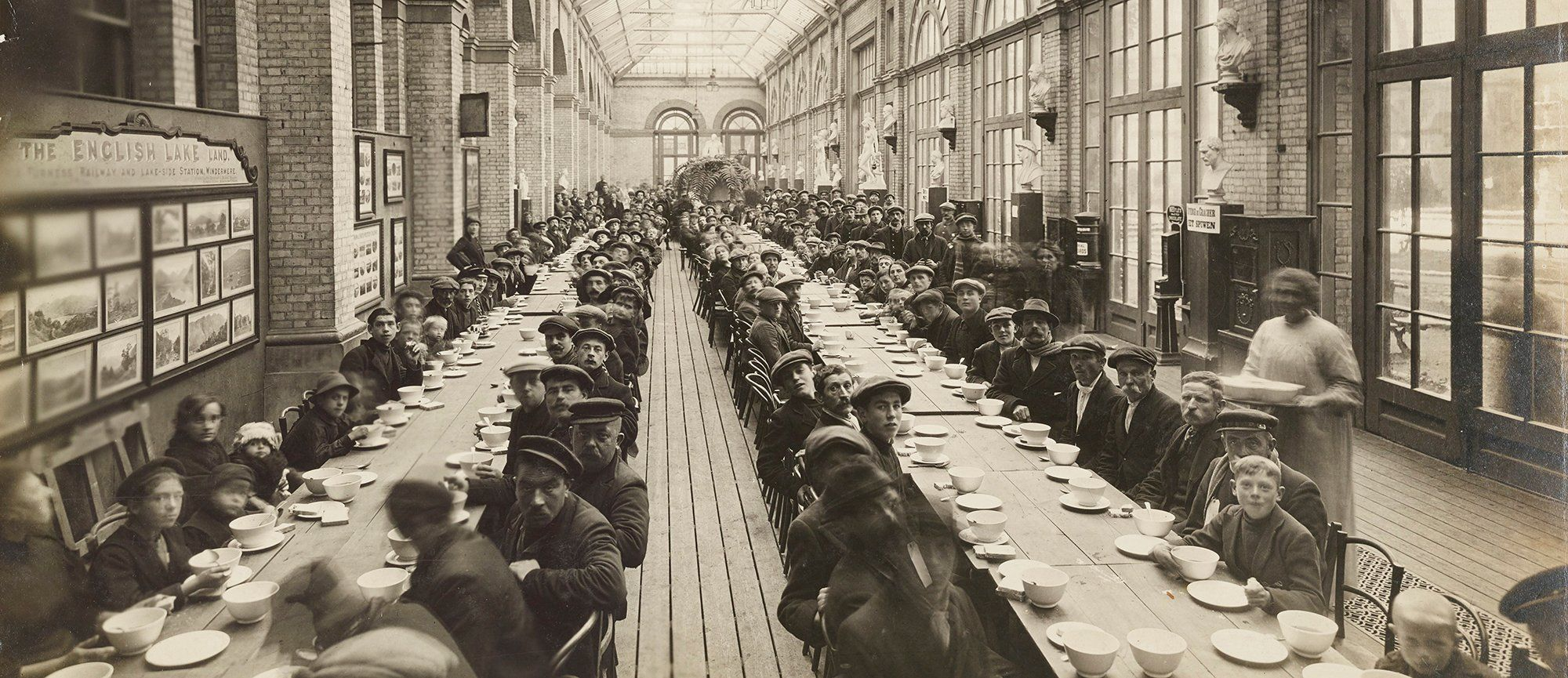 Refugees dining in the Great Hall during WWI