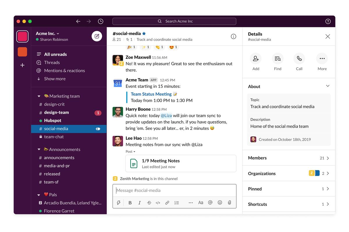 Slack is great for maintaining communication while working remotely