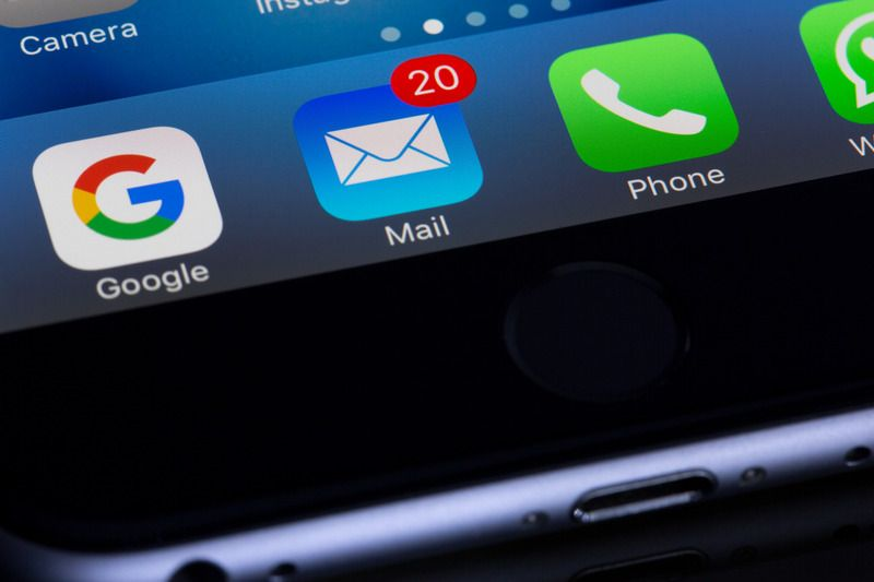 Emails on a phone