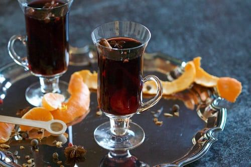 Mulled wine on silver tray