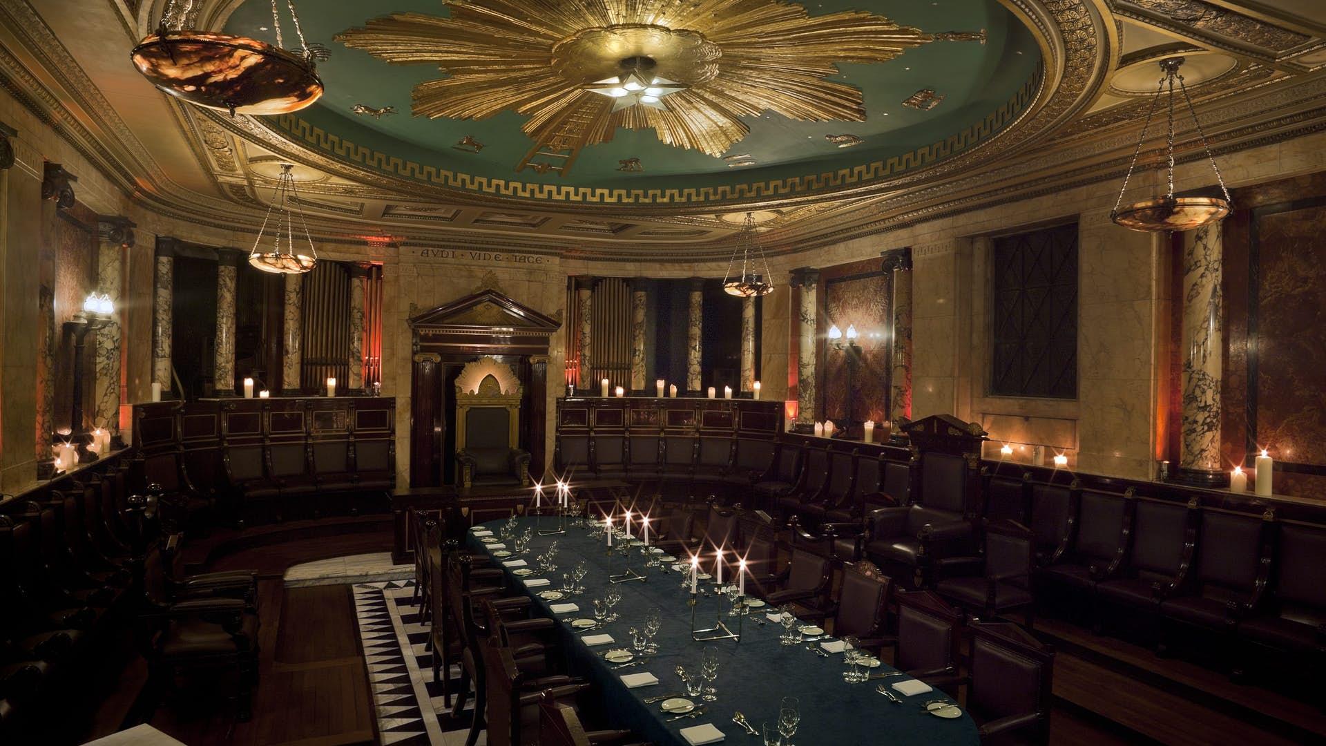 Dining set up at Masonic Temple