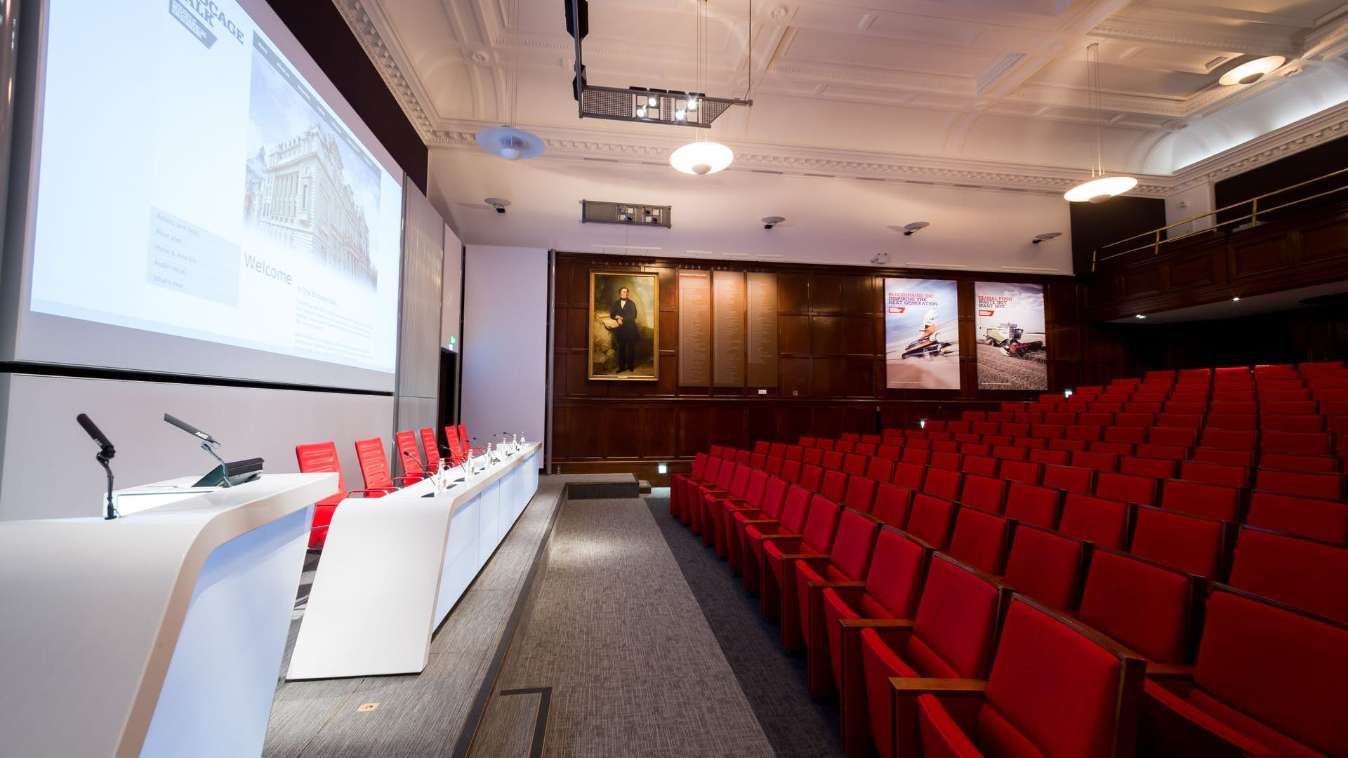 Lecture Theatre panel set up at One Birdcage Walk