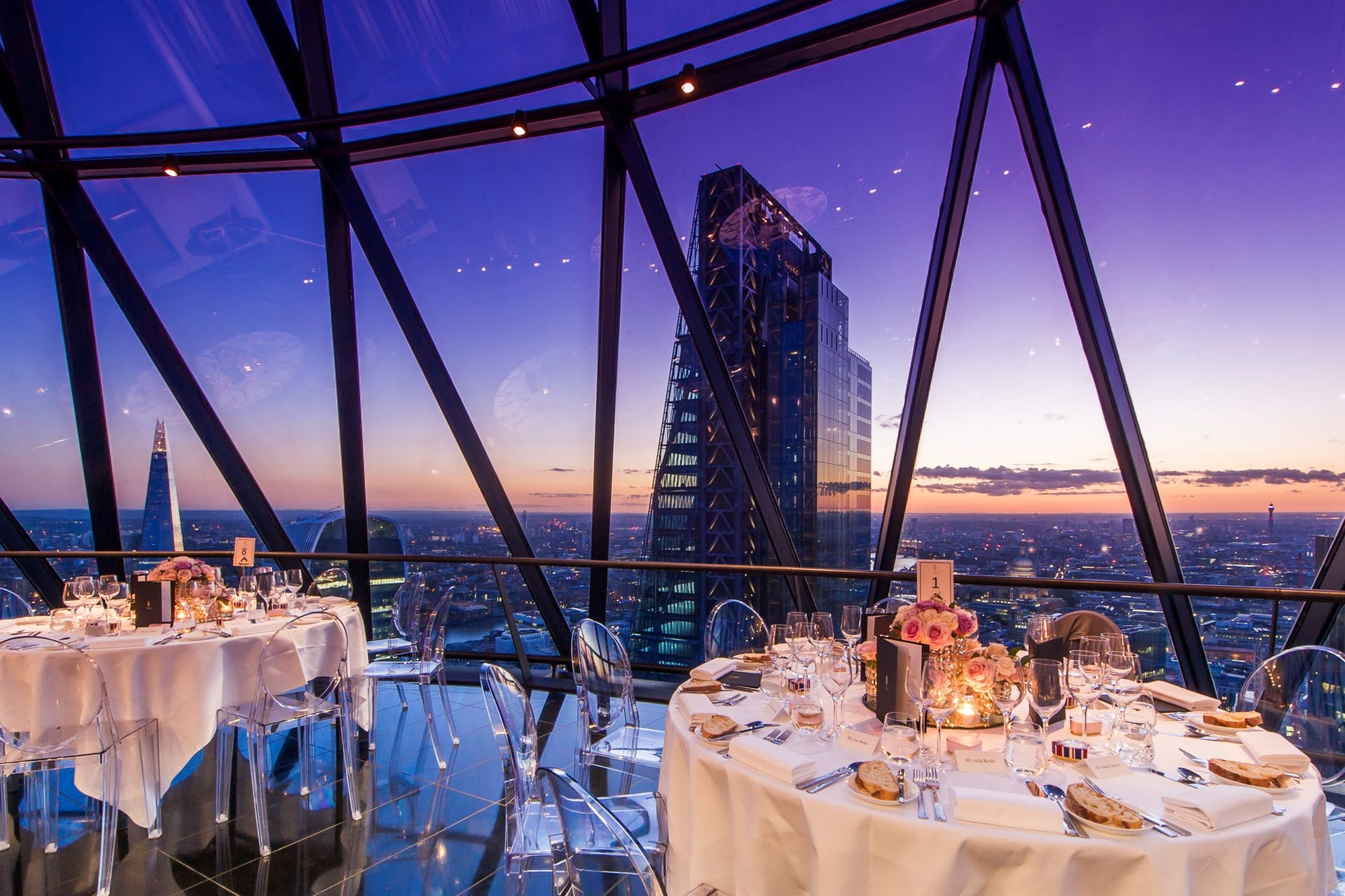 Dining set up at Searcys at The Gherkin