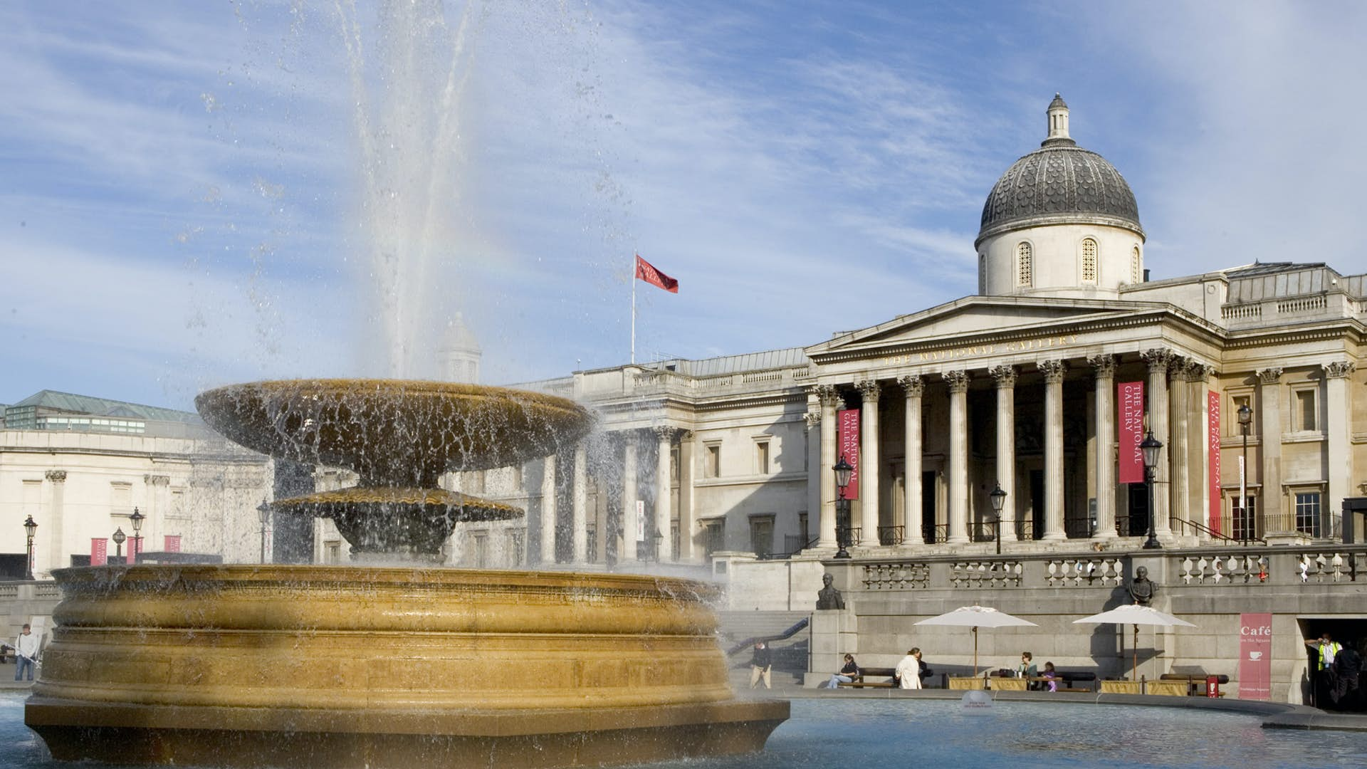 Trafalgar Square in foreground, gallery in background